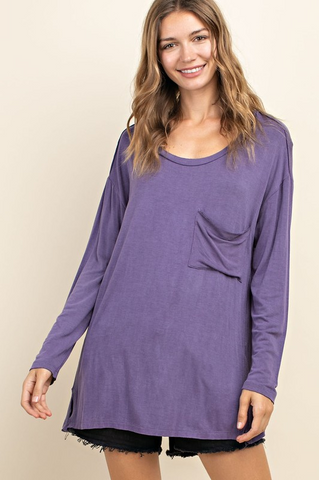 Round Neck Front Pocket Top