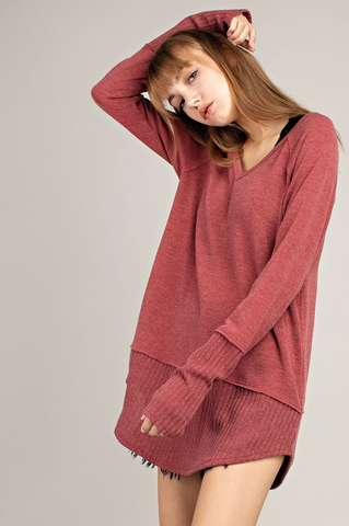 Vneck Hem Long Sleeve Top