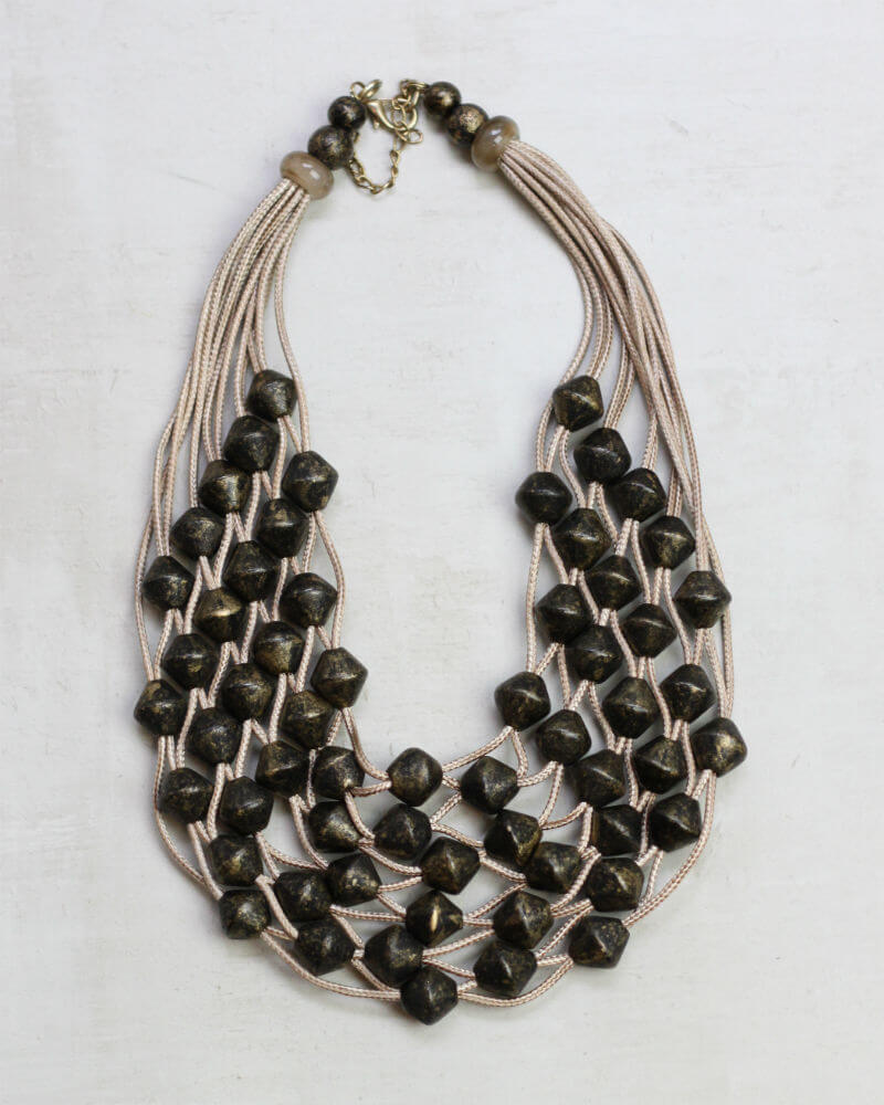 Beige and Black Net Necklace Jewelry - The Post Office by Shannon Passero. Fashion Boutique in Thorold, Ontario