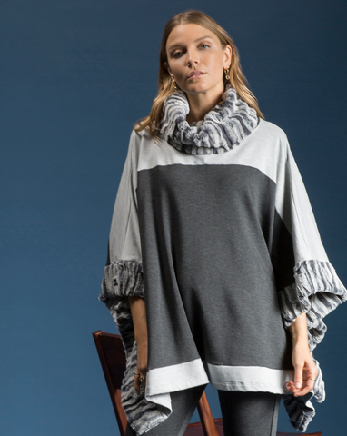 Shannon Passero Collection Mixed Block Cowl Neck Poncho
