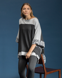 Boatneck Poncho with Colour Blocked Design by Shannon Passero