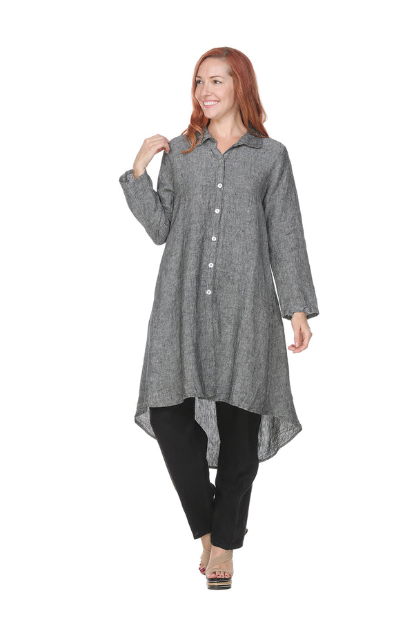 Roll Sleeve Linen Tunic Linen - The Post Office by Shannon Passero. Fashion Boutique in Thorold, Ontario