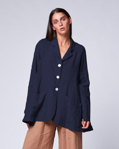 Linen 3 Button Swing Jacket