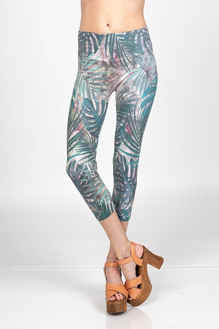 Tropical Leaves Crop Leggings M. Rena Canada