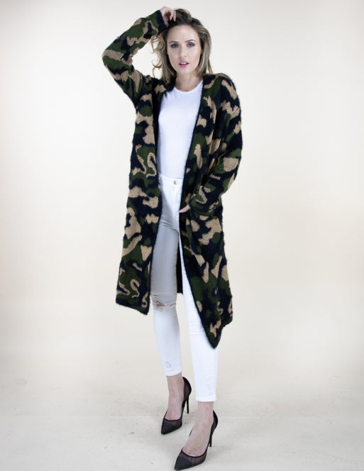 Eyelash Camo L/S Cardigan Tops - The Post Office by Shannon Passero. Fashion Boutique in Thorold, Ontario
