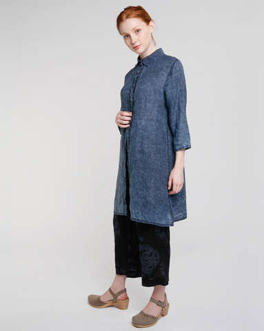 Washed Linen Shirt Dress