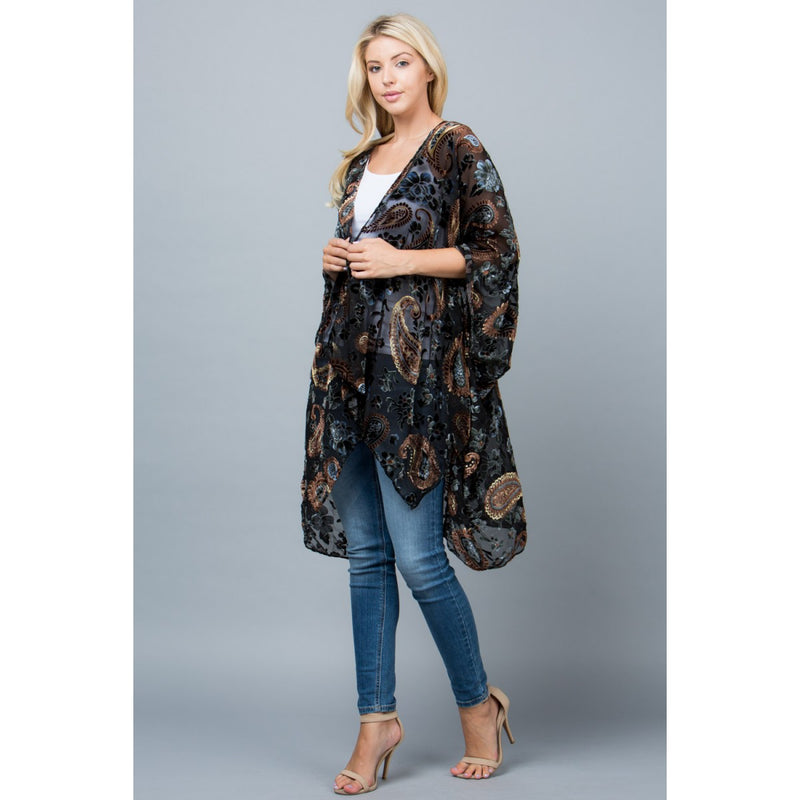Paisley Print Velvet Kimono Tops - The Post Office by Shannon Passero. Fashion Boutique in Thorold, Ontario