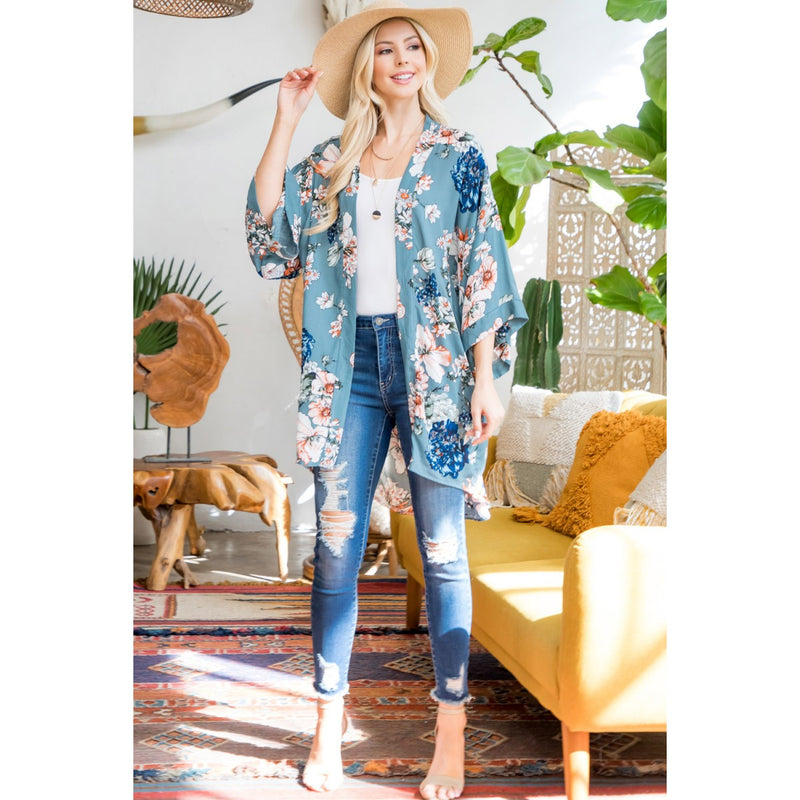 Lily Flower Print Kimono Coverups - The Post Office by Shannon Passero. Fashion Boutique in Thorold, Ontario