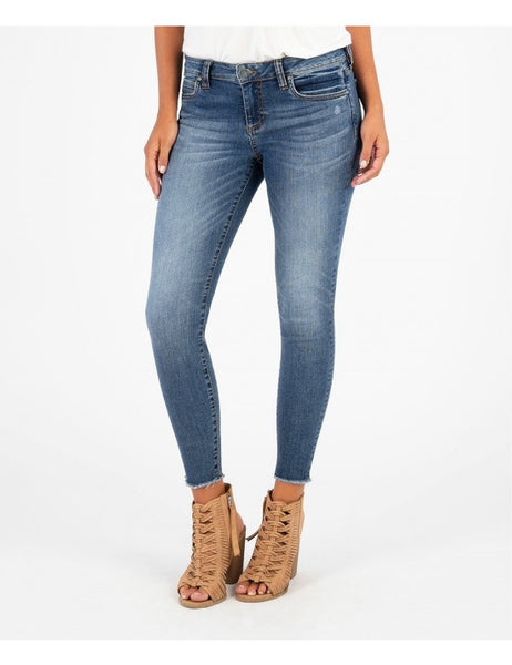 Connie Slim Fit Ankle Skinny with Fray Hem (Guileless wash) Kut from the Kloth