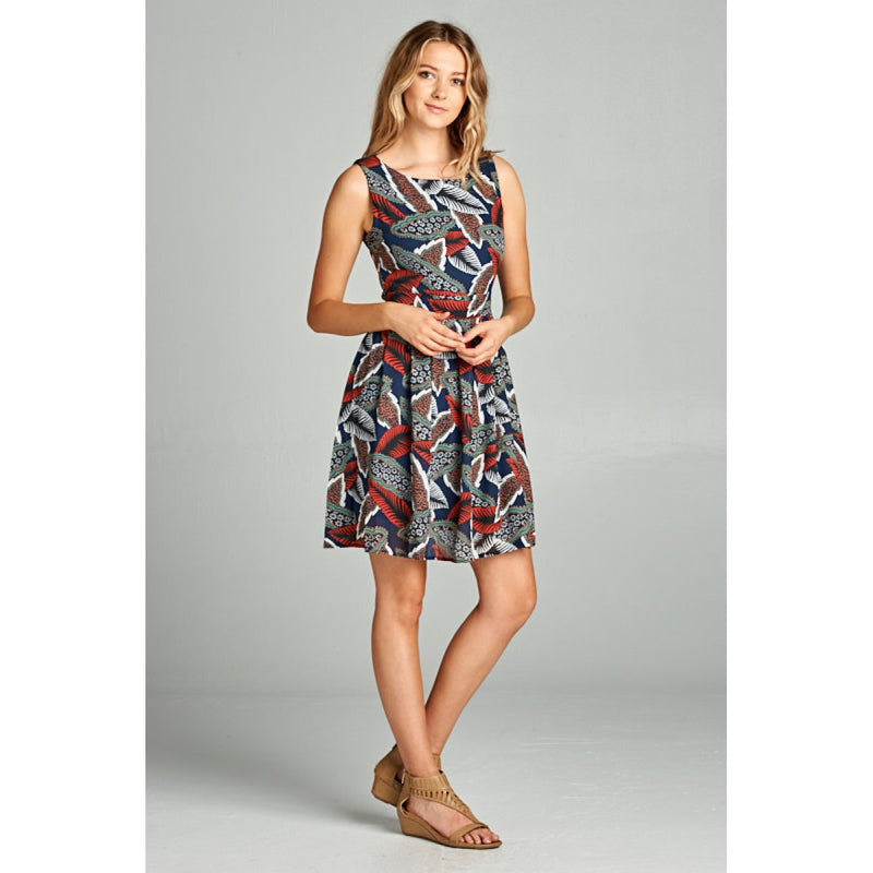 Leaf Print Dress Dresses - The Post Office by Shannon Passero. Fashion Boutique in Thorold, Ontario