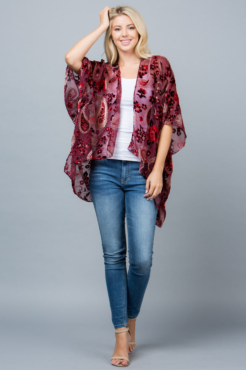 Velvet Burnout Kimono Tops - The Post Office by Shannon Passero. Fashion Boutique in Thorold, Ontario