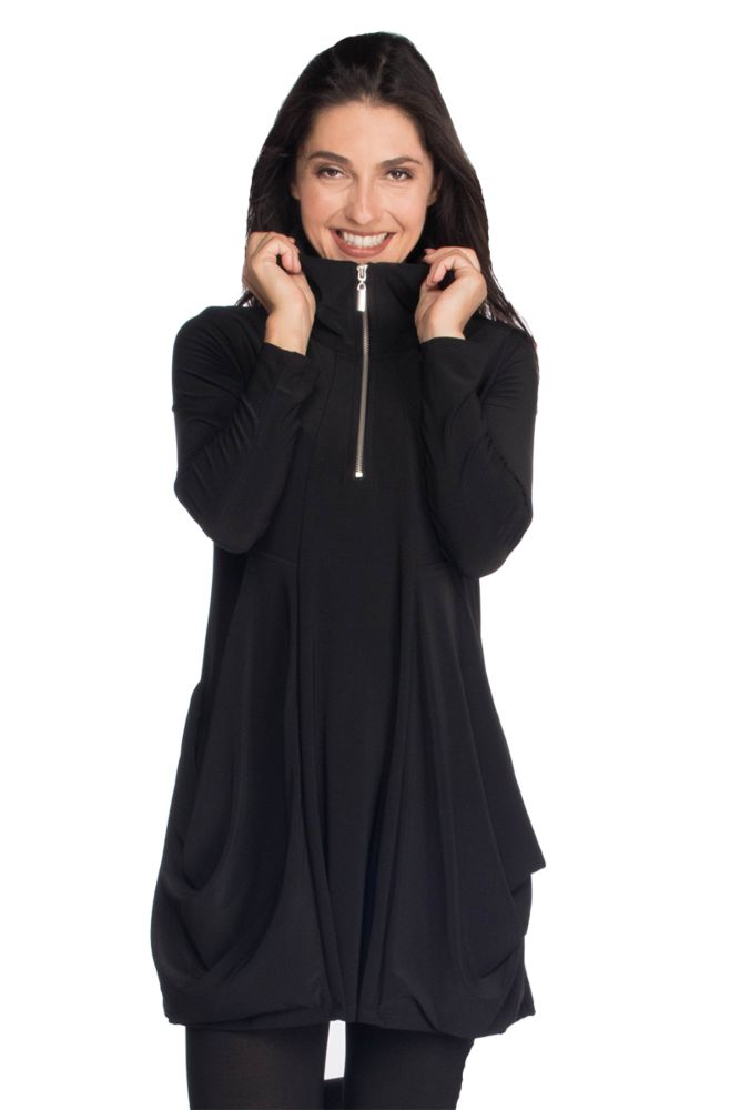 L/S Zipper Trim Tunic Tops - The Post Office by Shannon Passero. Fashion Boutique in Thorold, Ontario