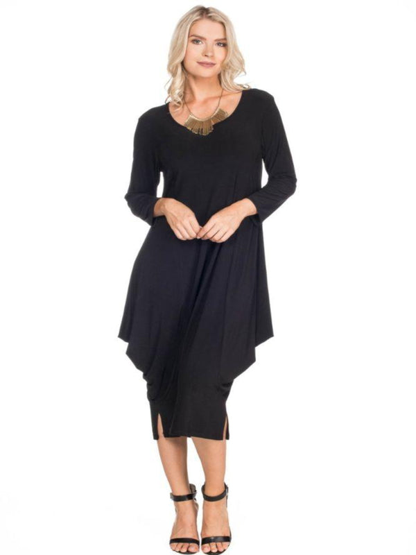 3/4 Sleeve Dress with Drapes Tops - The Post Office by Shannon Passero. Fashion Boutique in Thorold, Ontario