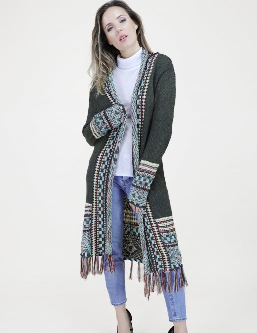 Navajo Cardigan with Fringe Tops - The Post Office by Shannon Passero. Fashion Boutique in Thorold, Ontario