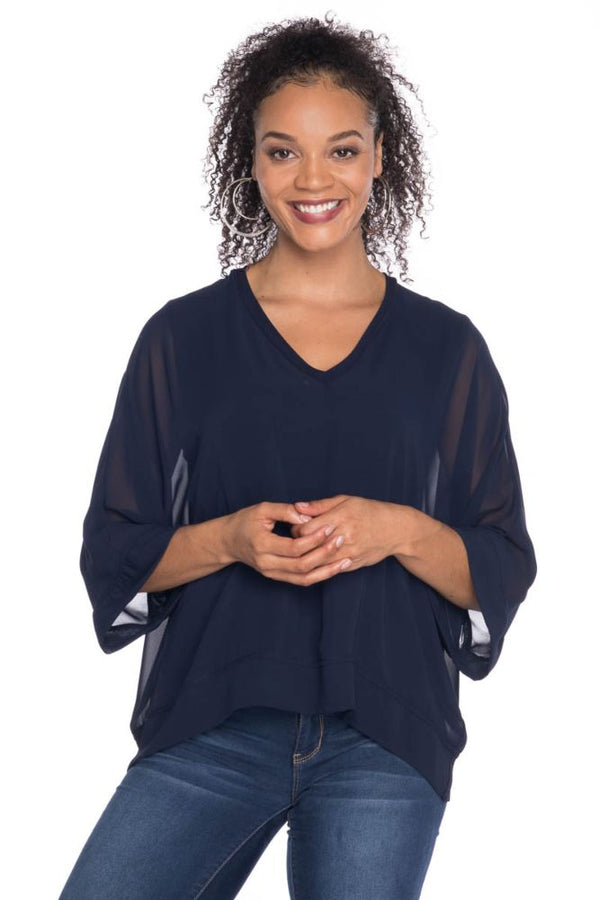 Vneck Top with Chiffon Tops - The Post Office by Shannon Passero. Fashion Boutique in Thorold, Ontario