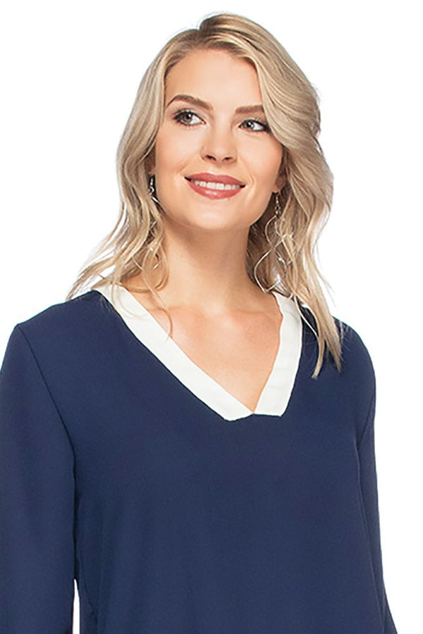 Vneck Trim Tunic Tops - The Post Office by Shannon Passero. Fashion Boutique in Thorold, Ontario