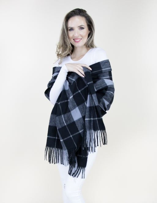 Wide Lines Plaid Scarf Accessories - The Post Office by Shannon Passero. Fashion Boutique in Thorold, Ontario