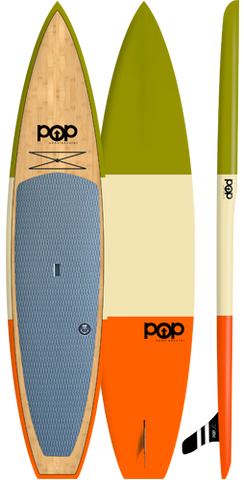 "POP Paddleboards Americana 12'0"" Touring SUP - Green, Cream, Orange"