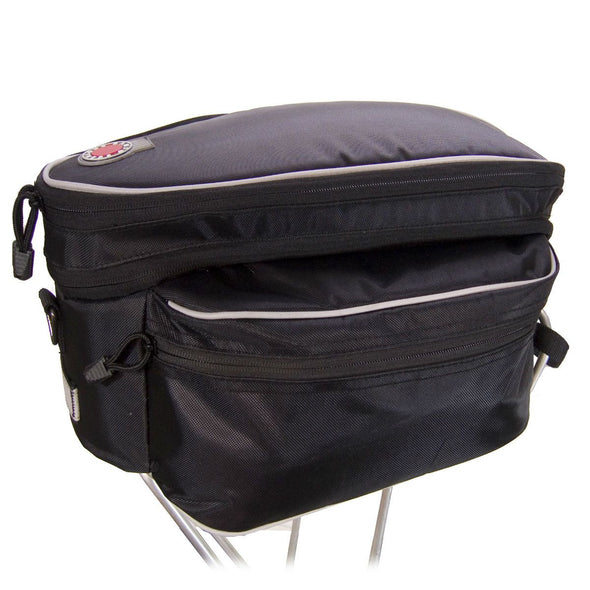 Banjo Brothers Expanding Racktop Bag in black fabric