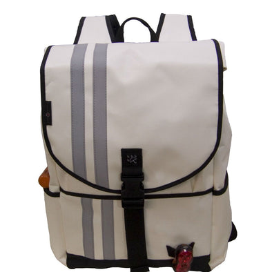 Banjo Brothers Large Waterproof Commuter Backpack in white. 2000 cubic inches.