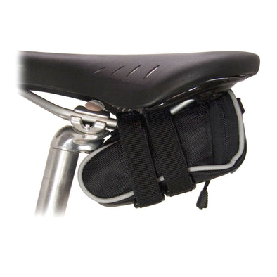 Banjo Brothers Deluxe Seat Bag Mini in Black attached to bike seat
