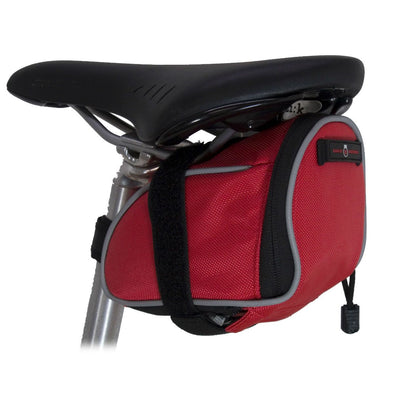 Banjo Brothers Deluxe Medium Seat Bag Red mounted to bike seat