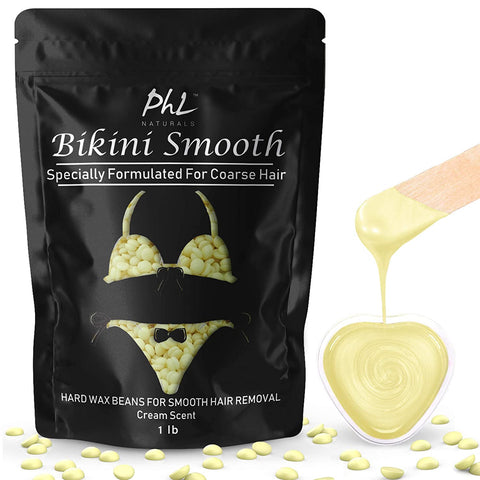 Bikini Smooth Hard Wax Beans for Coarse Hair - Bikini, Brazilian, Underarms, Chest- Safe for Sensitive Skin- 1 lb plus 20 Wooden Applicators