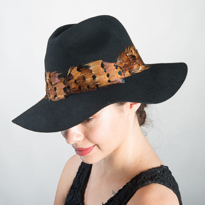 Feather Wool Felt Fedora Hat/Blk-Nature