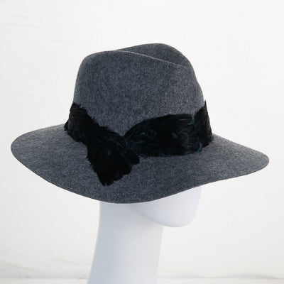 Grey/Black Feather Wool Felt Fedora Hat