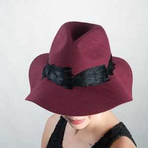 Feather Wool Felt Fedora Hat/Wine
