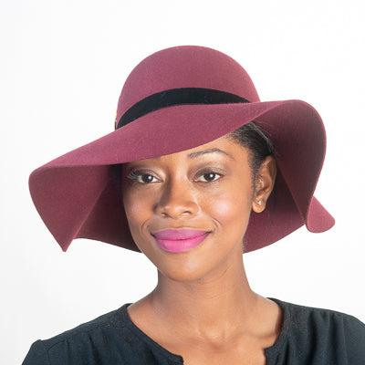 Floppy Wool Felt Hat with Feather/Color Wine
