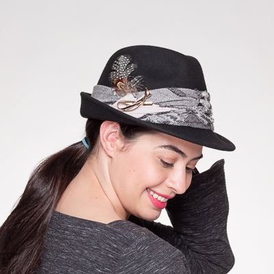 Fashion Trim Felt Fedora Hat/Black