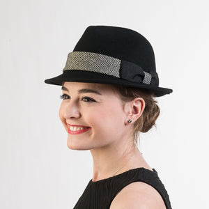 Black Houndstooth Bow Band Wool Felt Fedora Hats