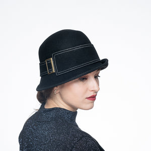Buckle Belt Wool Felt Cloch Hat/Black