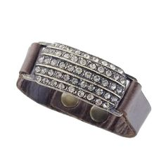 Rebel Designs leather bracelet w/blk diamond crystal