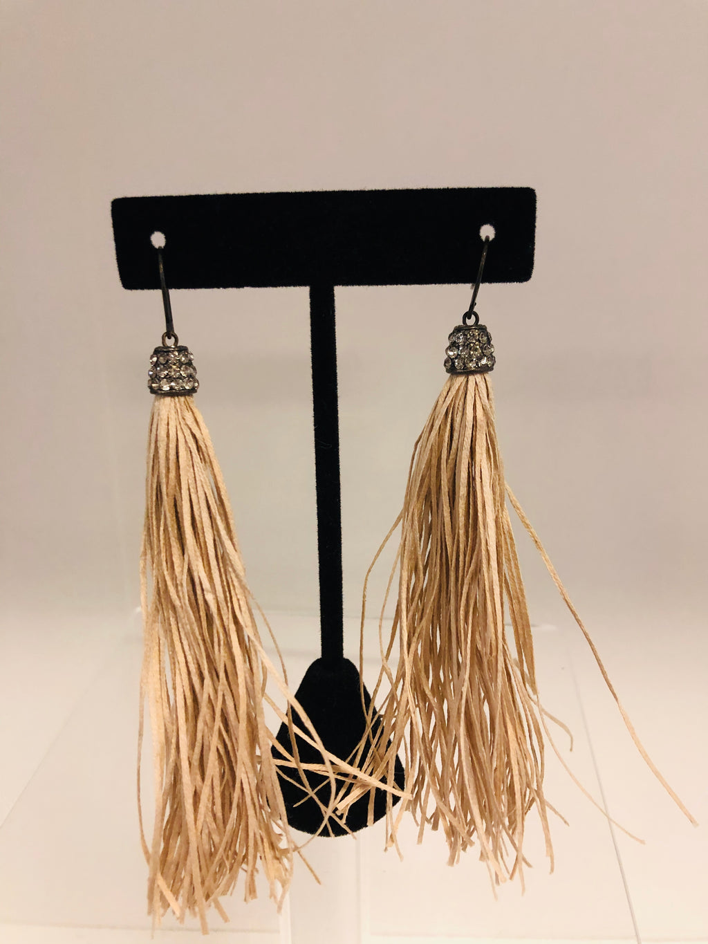 Yarn Tassel Earrings/Blk Diamond Crystals