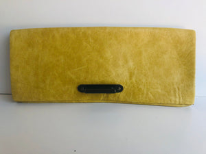 Italian Vintage Mustard Leather Clutch with Brass Focal