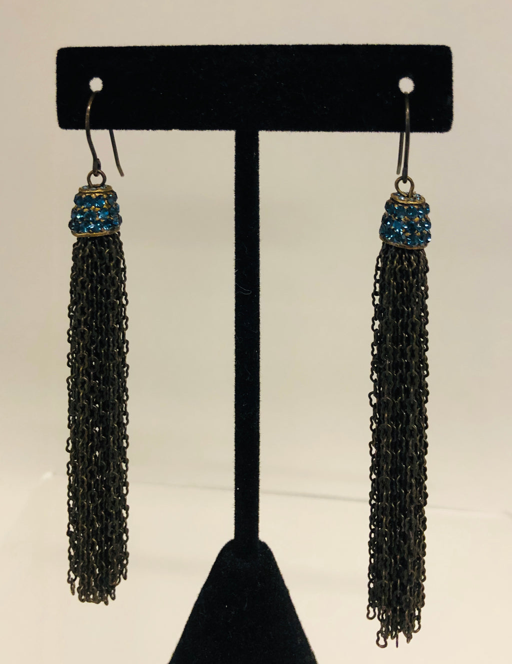 Chain Tassel Earrings/Blue Crystals