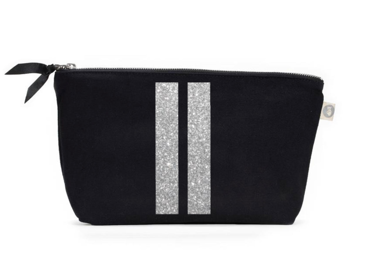 Clutch Bag: Black with matt silver double stripe
