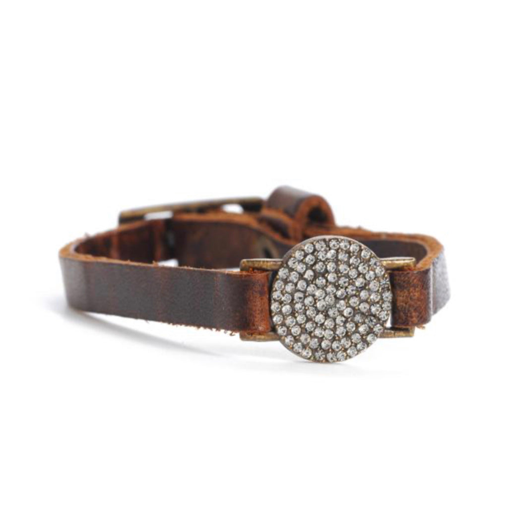 Pave Round Disc Skinny Leather Bracelet