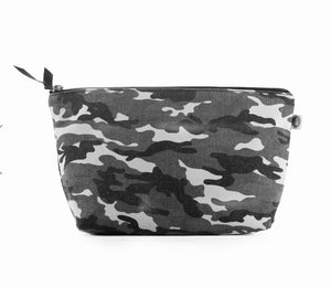 Canvas Clutch Bag: Grey Camouflage