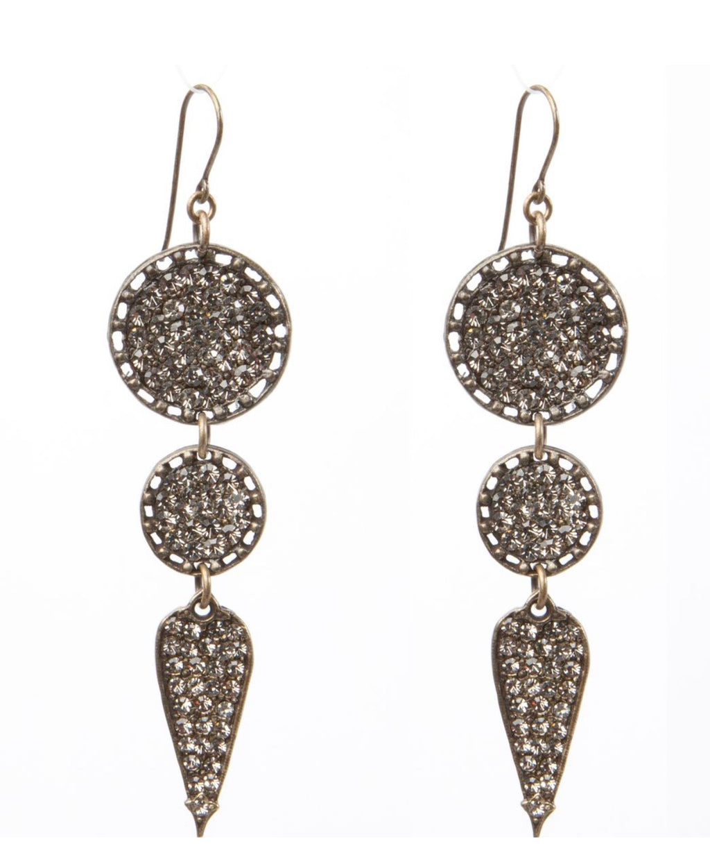 Rebel Triple Drop Earrings/Blk Diamond Crystals