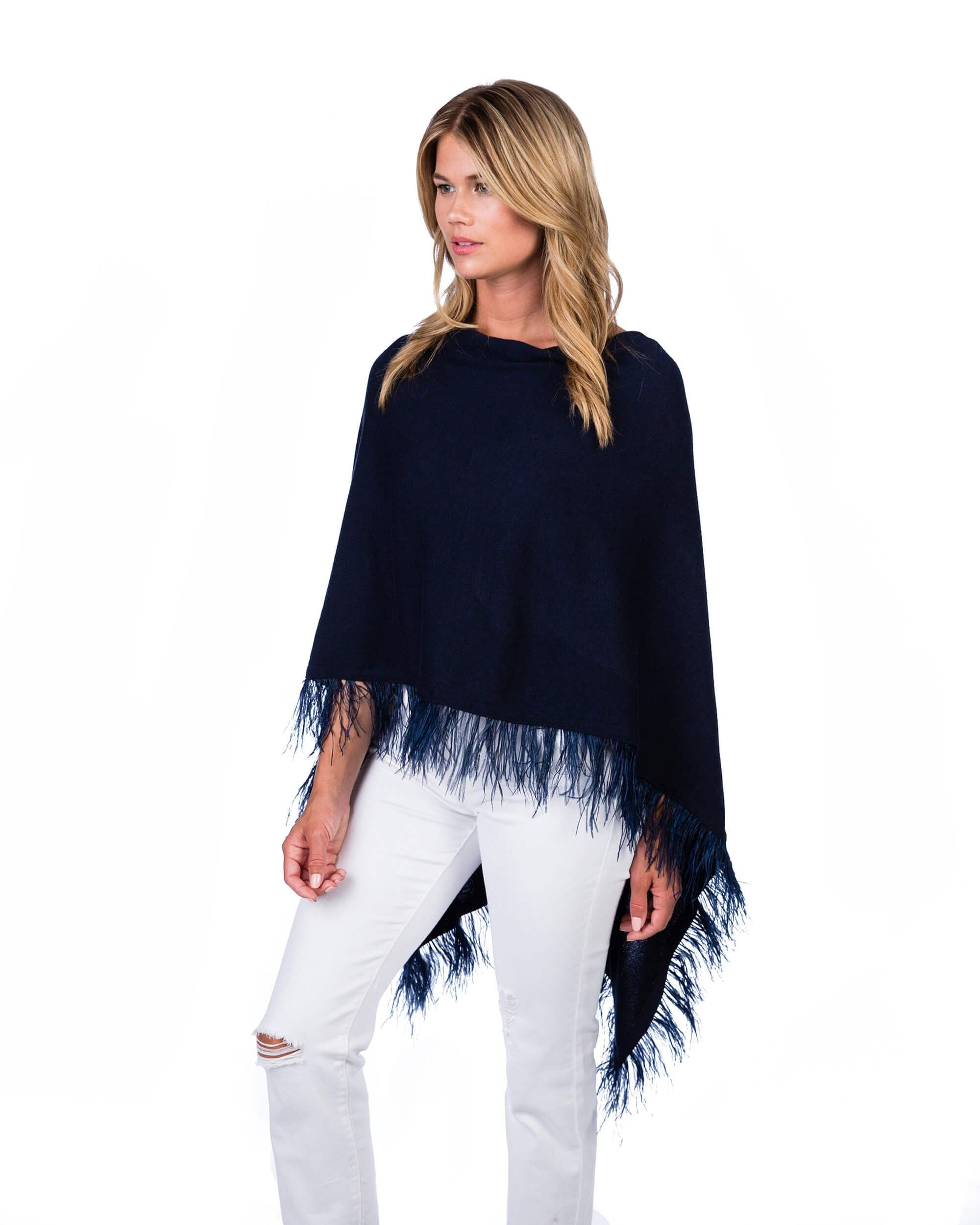 Alashan Cotton/Cashmere Feather Topper-Navy