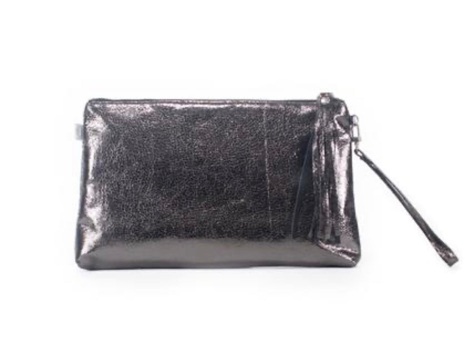 LUXE METALLIC CLUTCH WITH WRISTLET: GUN METAL