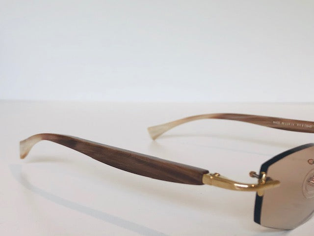 Gold & Wood Rimless-Buffalo Horn