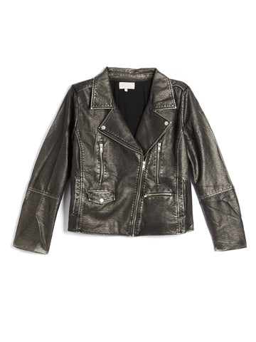 Plus Size Vegan Washed Moto Jacket