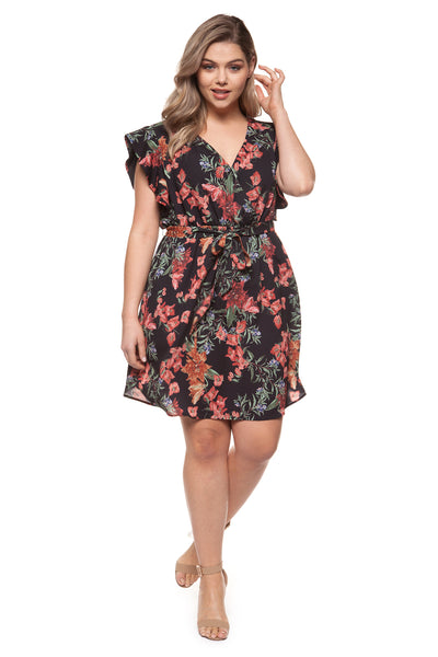 Cara Floral Flutter Dress