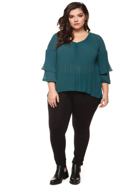 Plisse Frill Sleeve Plus Size Blouse