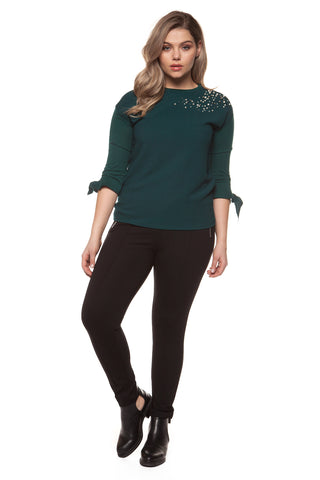 Kat Pearl Embellished Plus Size Top
