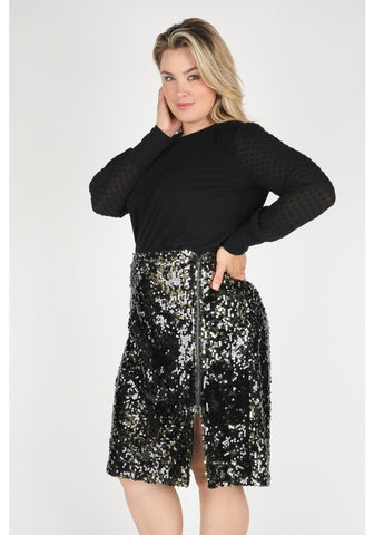 LaTonya Plus Size Pencil Sequin Skirt With Slit